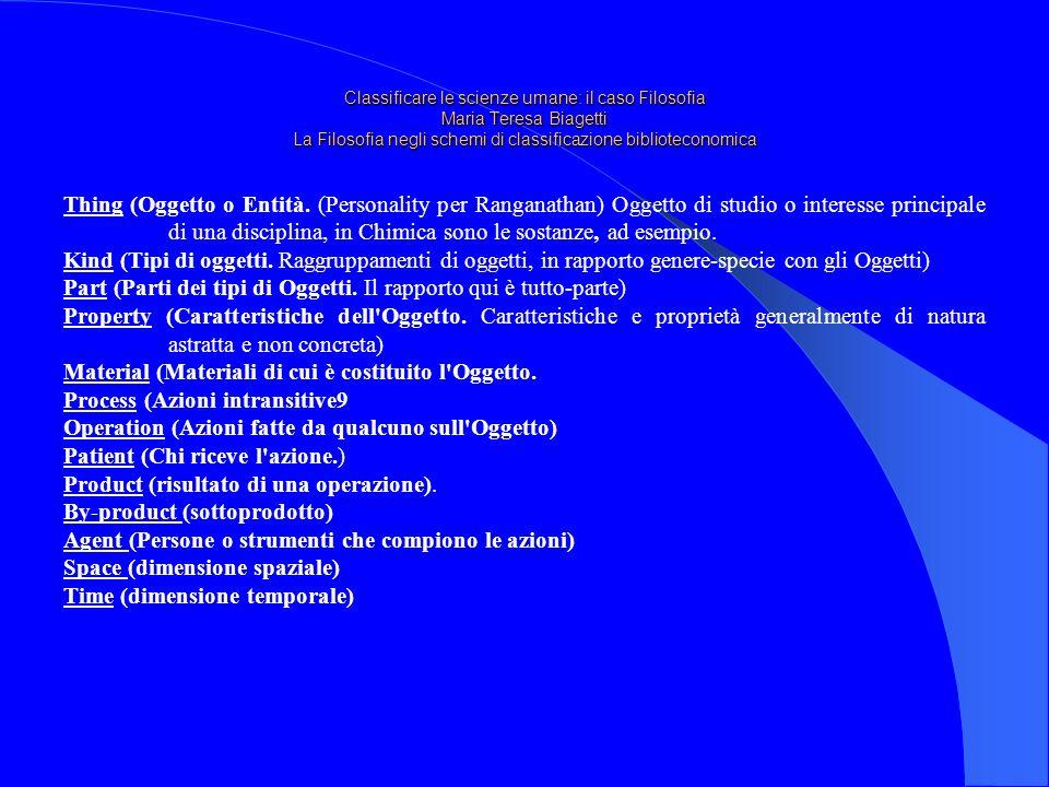 Classificare le scienze umane: il caso Filosofia Maria Teresa Biagetti La Filosofia negli schemi di classificazione biblioteconomica Thing (Oggetto o Entità.