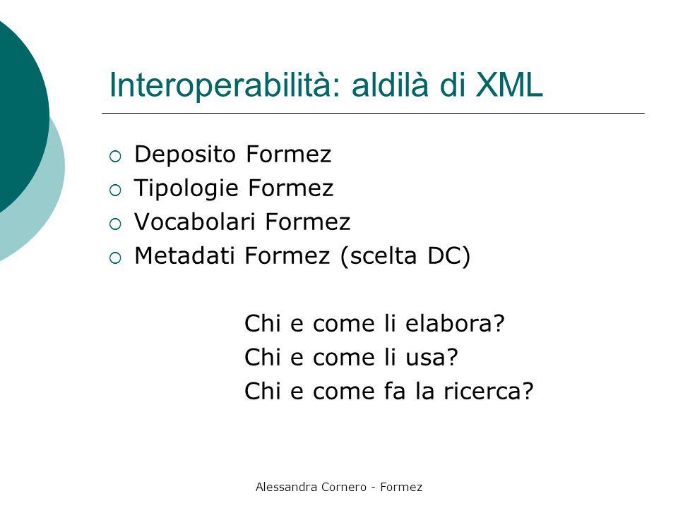 Alessandra Cornero - Formez Interoperabilità: aldilà di XML Deposito Formez Tipologie Formez Vocabolari Formez Metadati Formez (scelta DC) Chi e come li elabora.