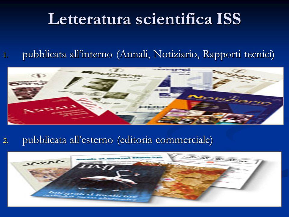 Letteratura scientifica ISS 1. pubblicata allinterno (Annali, Notiziario, Rapporti tecnici) 2. pubblicata allesterno (editoria commerciale)