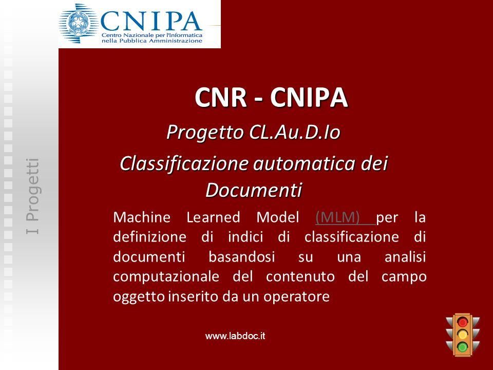 CNR - CNIPA Progetto CL.Au.D.Io Classificazione automatica dei Documenti I Progetti Machine Learned Model (MLM) per la definizione di indici di classi