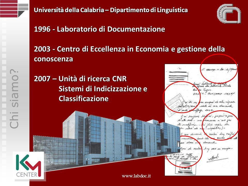 Chi siamo? Università della Calabria – Dipartimento di Linguistica 1996 - Laboratorio di Documentazione 2003 - Centro di Eccellenza in Economia e gest