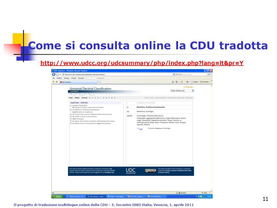 Il progetto di traduzione multilingue online della CDU – 5. Incontro ISKO Italia, Venezia, 1. aprile 2011 11 Come si consulta online la CDU tradotta h