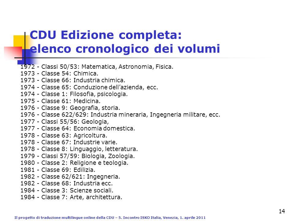 Il progetto di traduzione multilingue online della CDU – 5. Incontro ISKO Italia, Venezia, 1. aprile 2011 14 CDU Edizione completa: elenco cronologico