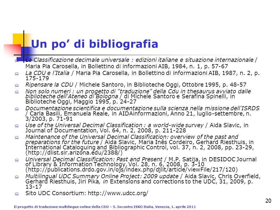 Il progetto di traduzione multilingue online della CDU – 5. Incontro ISKO Italia, Venezia, 1. aprile 2011 20 Un po di bibliografia La Classificazione