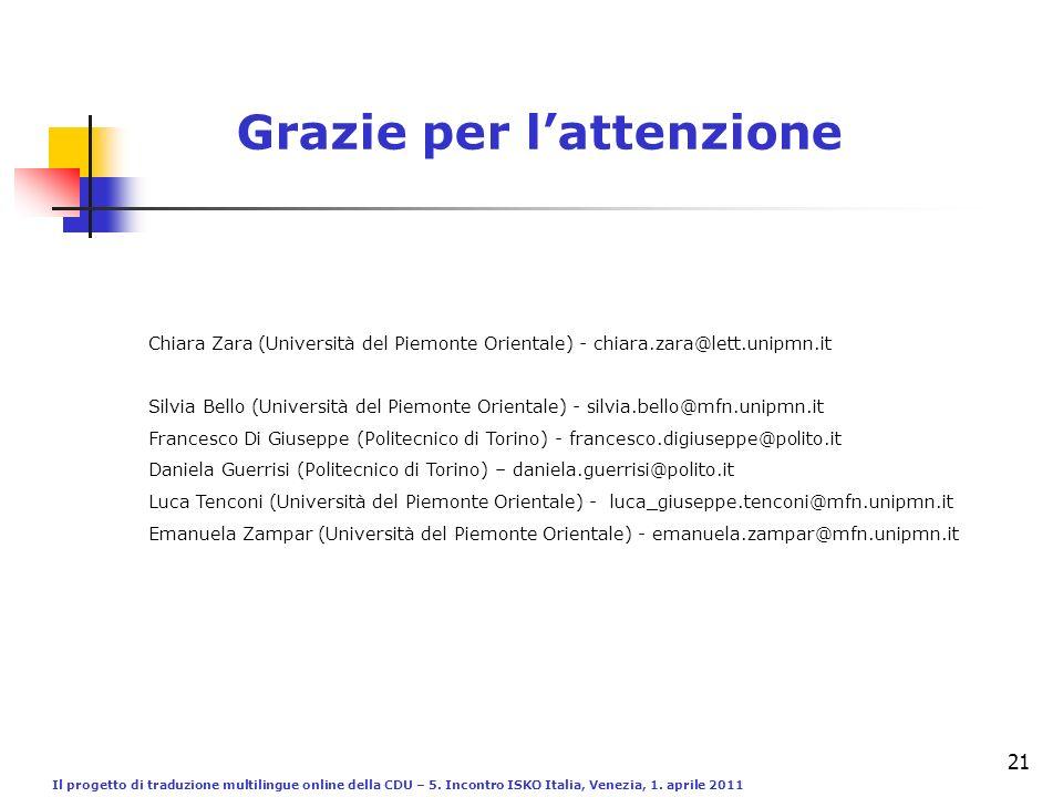 Il progetto di traduzione multilingue online della CDU – 5. Incontro ISKO Italia, Venezia, 1. aprile 2011 21 Grazie per lattenzione Silvia Bello (Univ