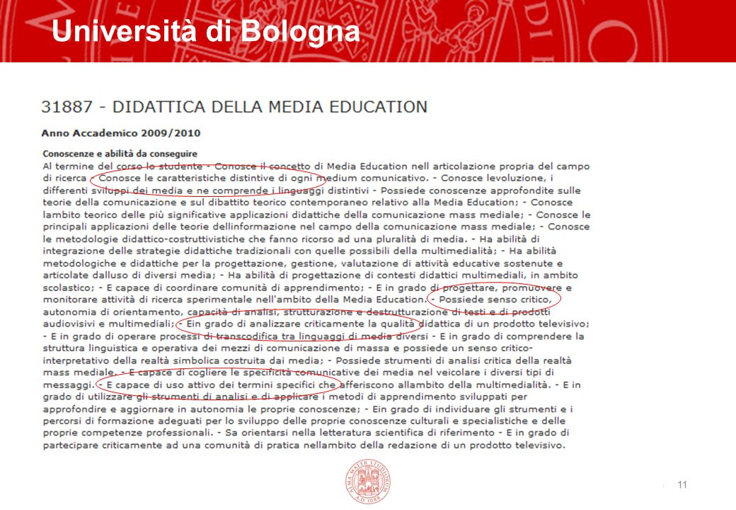 Copyright©2003 - Materiale riservato e strettamente confidenziale 11 Università di Bologna