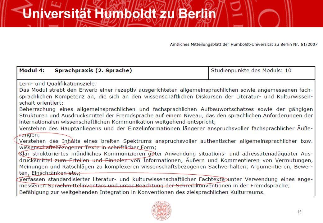 Copyright©2003 - Materiale riservato e strettamente confidenziale 13 Universität Humboldt zu Berlin