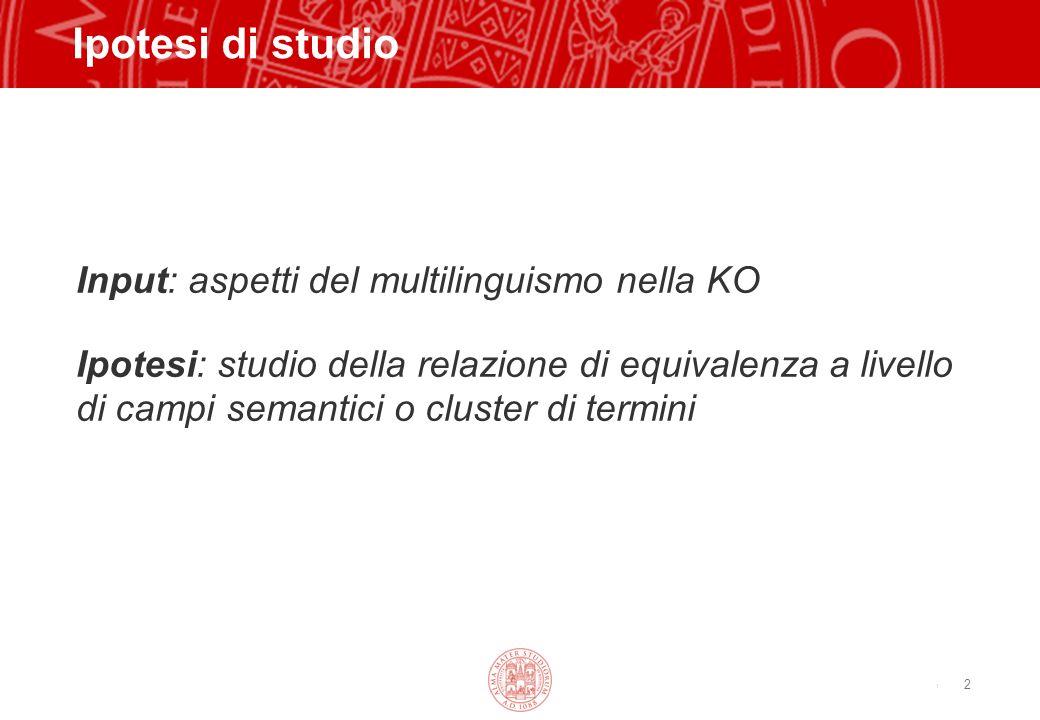 Copyright©2003 - Materiale riservato e strettamente confidenziale 2 Ipotesi di studio Input: aspetti del multilinguismo nella KO Ipotesi: studio della