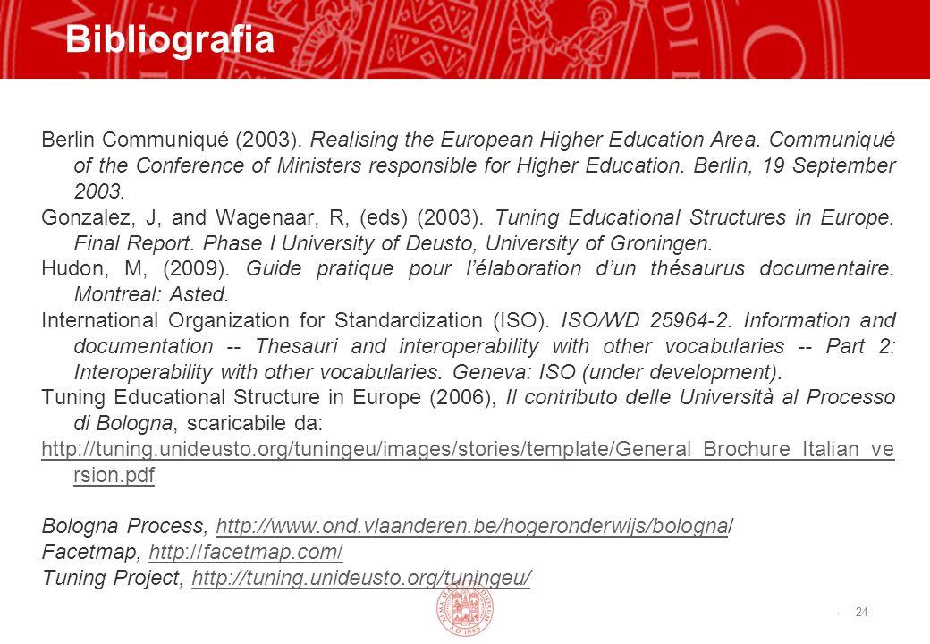 Copyright©2003 - Materiale riservato e strettamente confidenziale Bibliografia Berlin Communiqué (2003). Realising the European Higher Education Area.