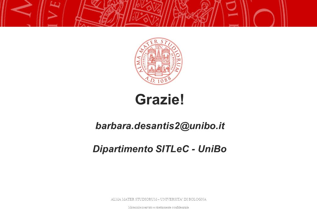 ALMA MATER STUDIORUM – UNIVERSITA DI BOLOGNA Materiale riservato e strettamente confidenziale Grazie! barbara.desantis2@unibo.it Dipartimento SITLeC -