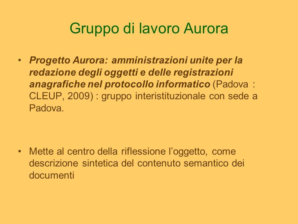 Gruppo di lavoro Aurora Progetto Aurora: amministrazioni unite per la redazione degli oggetti e delle registrazioni anagrafiche nel protocollo informatico (Padova : CLEUP, 2009) : gruppo interistituzionale con sede a Padova.
