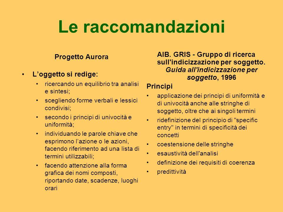 Le raccomandazioni Progetto Aurora Loggetto si redige: ricercando un equilibrio tra analisi e sintesi; scegliendo forme verbali e lessici condivisi; s