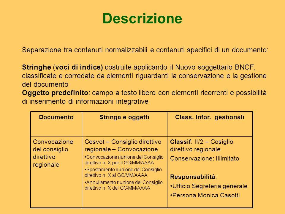 Descrizione Classif. II/2 – Cosiglio direttivo regionale Conservazione: Illimitato Responsabilità: Ufficio Segreteria generale Persona Monica Casotti