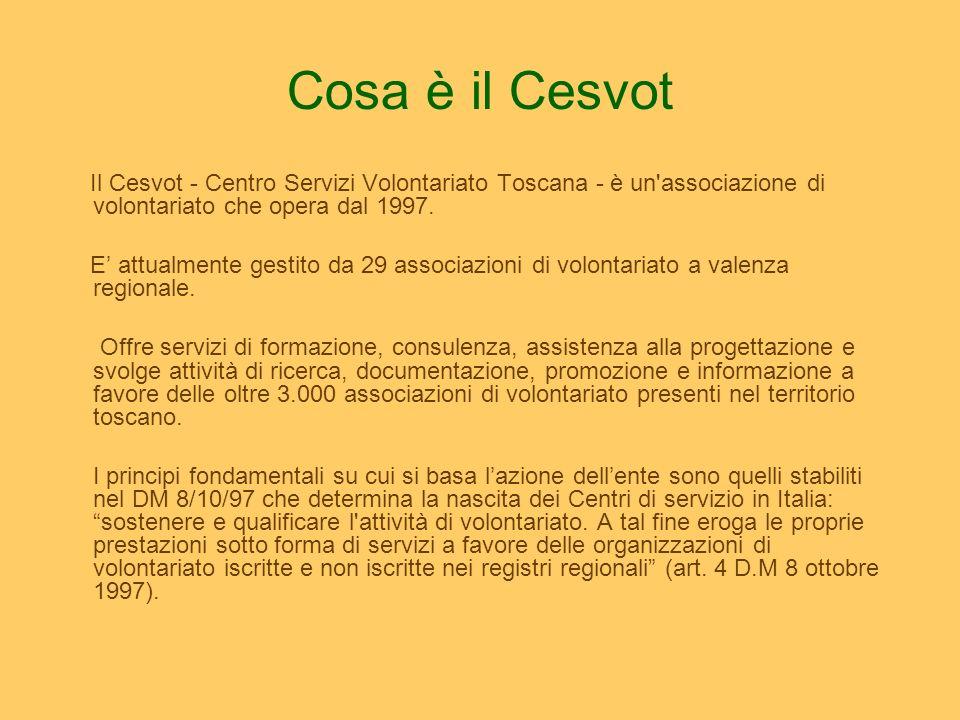 Cosa è il Cesvot Il Cesvot - Centro Servizi Volontariato Toscana - è un'associazione di volontariato che opera dal 1997. E attualmente gestito da 29 a
