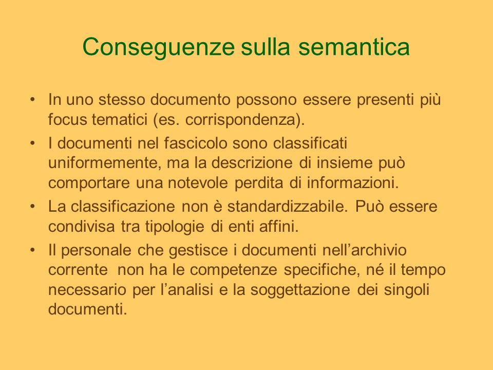 Conseguenze sulla semantica In uno stesso documento possono essere presenti più focus tematici (es. corrispondenza). I documenti nel fascicolo sono cl