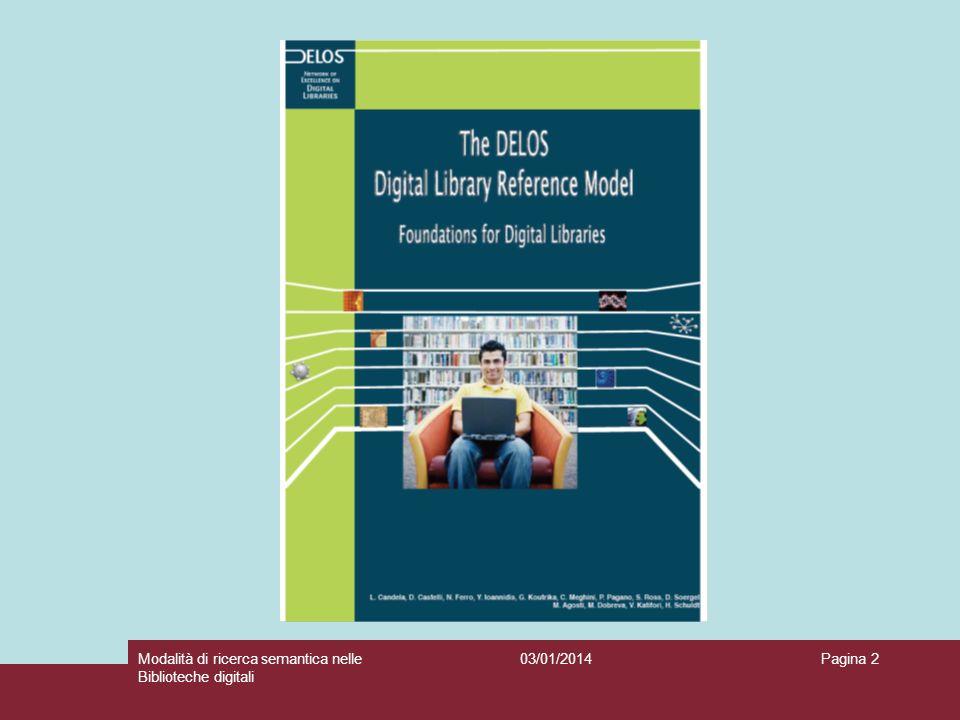 03/01/2014Modalità di ricerca semantica nelle Biblioteche digitali Pagina 3 Sixth Framework Programme (2002-2006) Information Society Technologies (IST) 2008: DL.org, Commissione dell Unione Europea, 7 th Framework Programme (FP7).