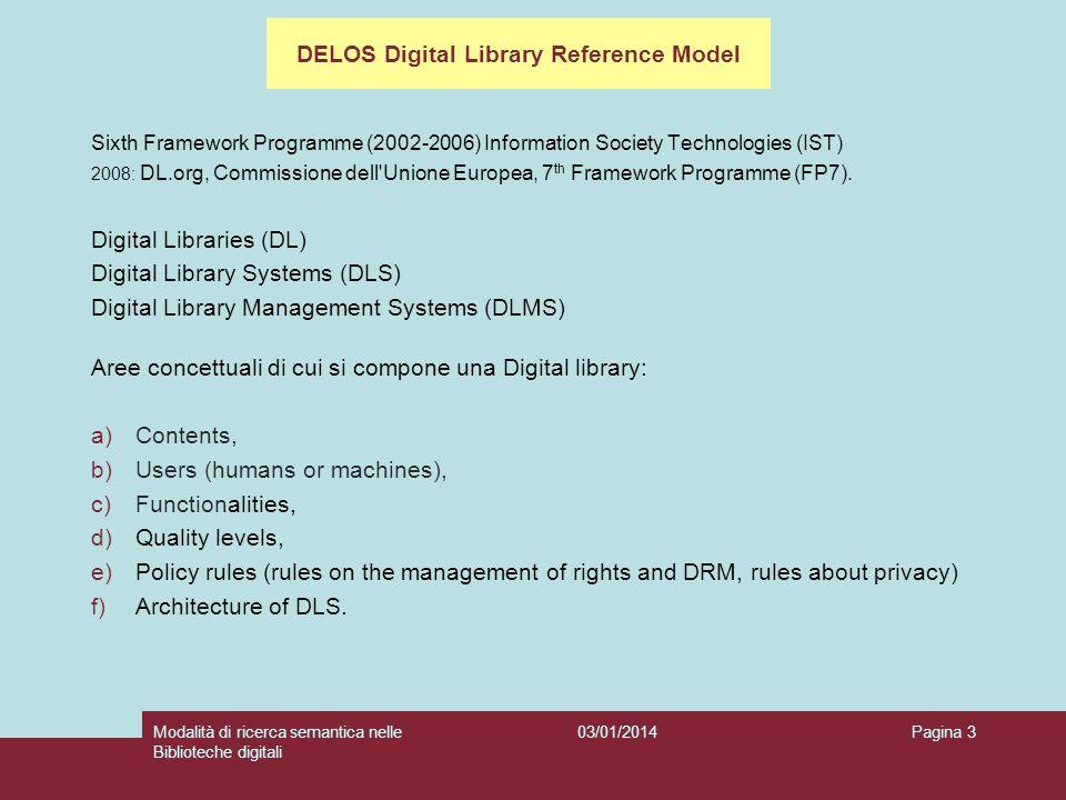 03/01/2014Modalità di ricerca semantica nelle Biblioteche digitali Pagina 4 C30 Functionality Domain Definition: One of the six main concepts characterising the Digital Library universe.
