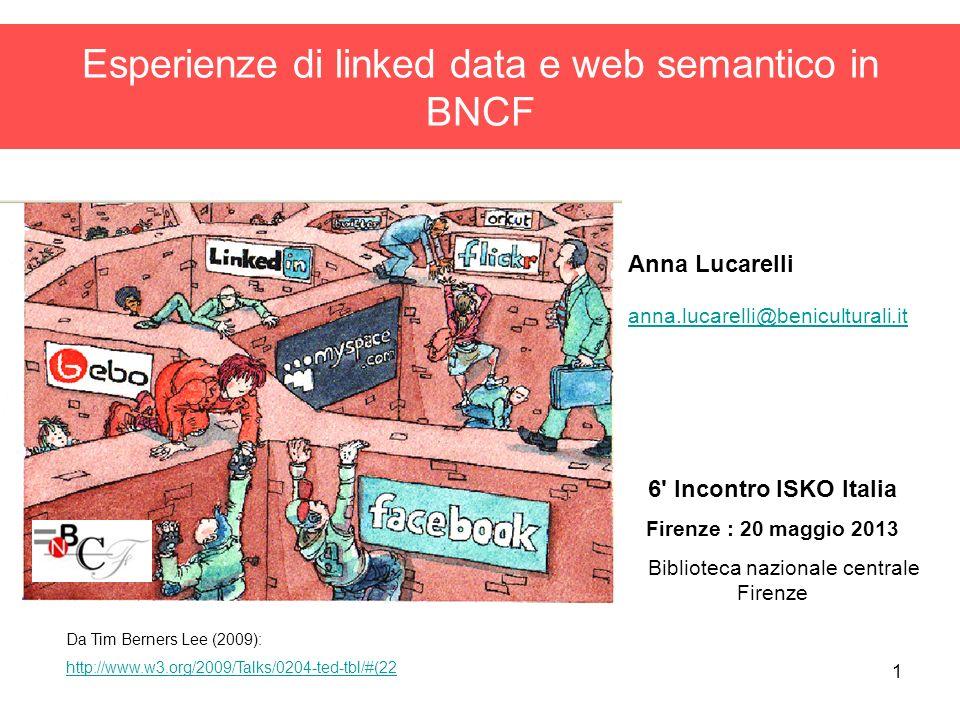 1 Esperienze di linked data e web semantico in BNCF Anna Lucarelli anna.lucarelli@beniculturali.it anna.lucarelli@beniculturali.it 6' Incontro ISKO It