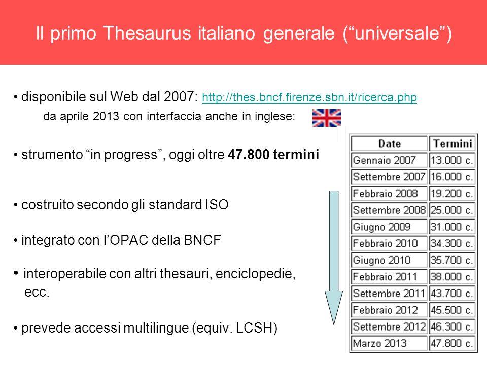 6 Il primo Thesaurus italiano generale (universale) disponibile sul Web dal 2007: http://thes.bncf.firenze.sbn.it/ricerca.php http://thes.bncf.firenze.sbn.it/ricerca.php da aprile 2013 con interfaccia anche in inglese: strumento in progress, oggi oltre 47.800 termini costruito secondo gli standard ISO integrato con lOPAC della BNCF interoperabile con altri thesauri, enciclopedie, ecc.