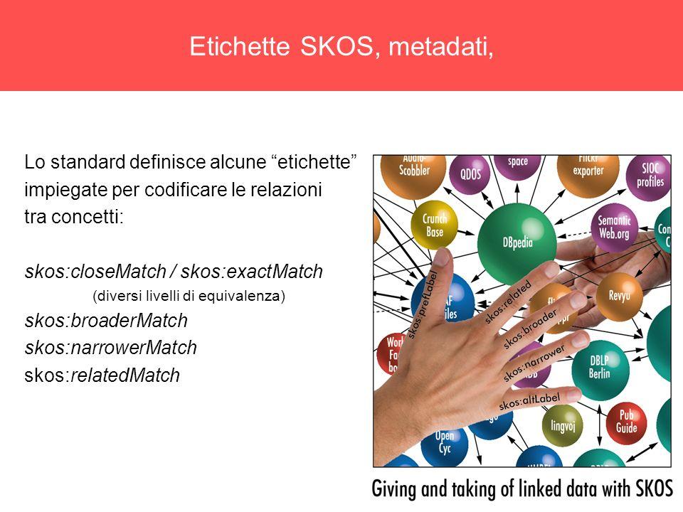 9 Etichette SKOS, metadati, Lo standard definisce alcune etichette impiegate per codificare le relazioni tra concetti: skos:closeMatch / skos:exactMatch (diversi livelli di equivalenza) skos:broaderMatch skos:narrowerMatch skos:relatedMatch
