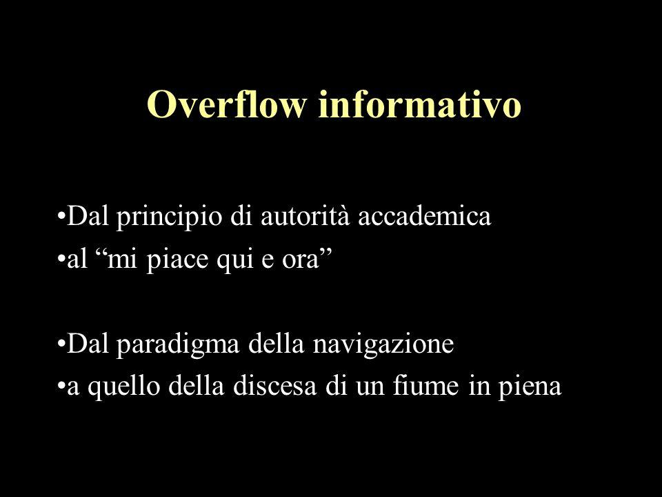 Overflow informativo Dal principio di autorità accademica al mi piace qui e ora Dal paradigma della navigazione a quello della discesa di un fiume in piena