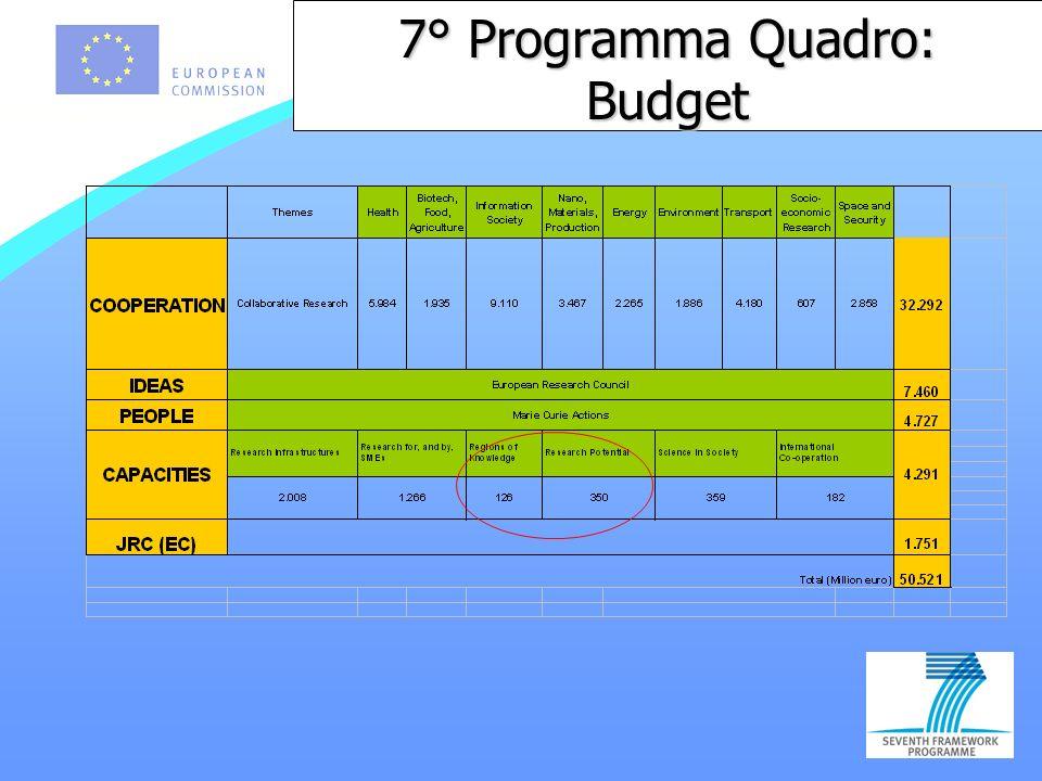 7° Programma Quadro: Budget