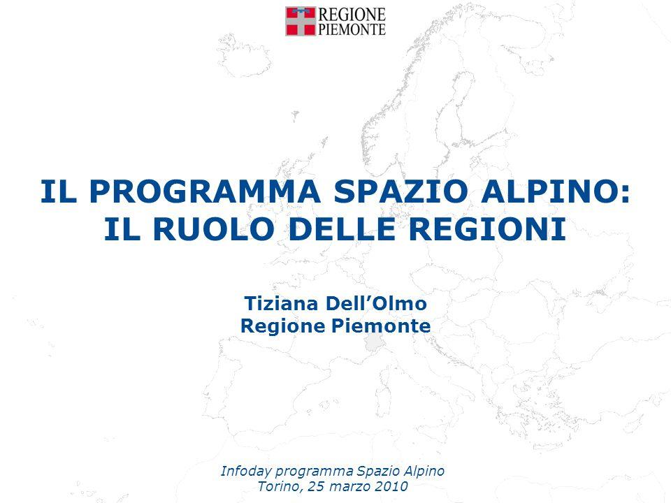 IL PROGRAMMA SPAZIO ALPINO: IL RUOLO DELLE REGIONI Tiziana DellOlmo Regione Piemonte Infoday programma Spazio Alpino Torino, 25 marzo 2010