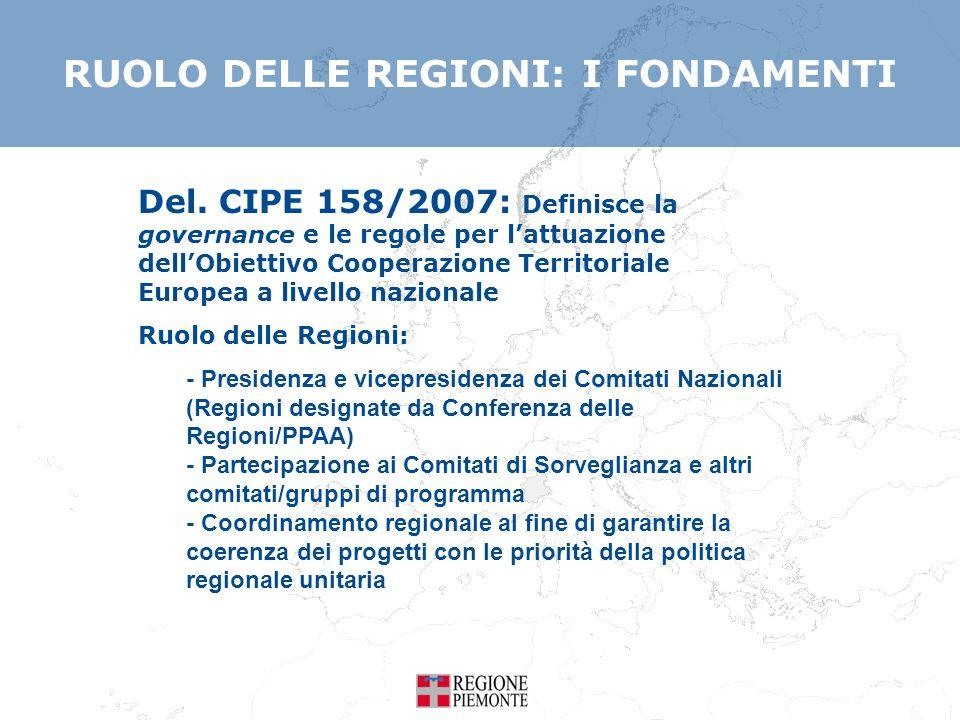 Del. CIPE 158/2007: Definisce la governance e le regole per lattuazione dellObiettivo Cooperazione Territoriale Europea a livello nazionale Ruolo dell