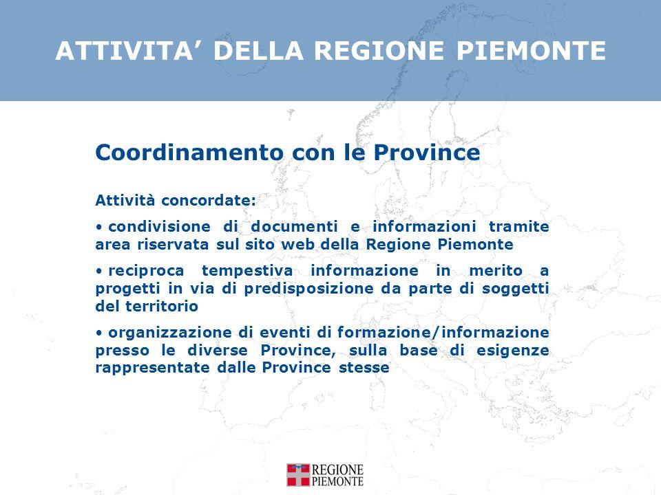ATTIVITA DELLA REGIONE PIEMONTE Lattività di coordinamento è svolta anche per altri programmi di cooperazione transnazionale e interregionale: Mediterraneo Europa Centrale Interreg IV C Urbact