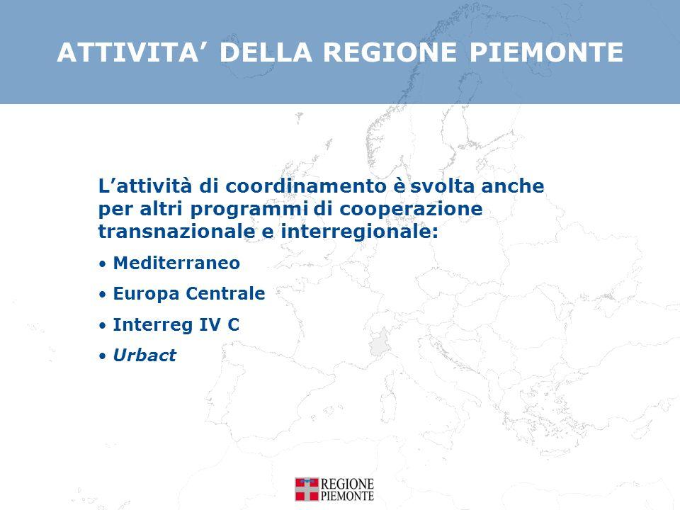 ATTIVITA DELLA REGIONE PIEMONTE Lattività di coordinamento è svolta anche per altri programmi di cooperazione transnazionale e interregionale: Mediter