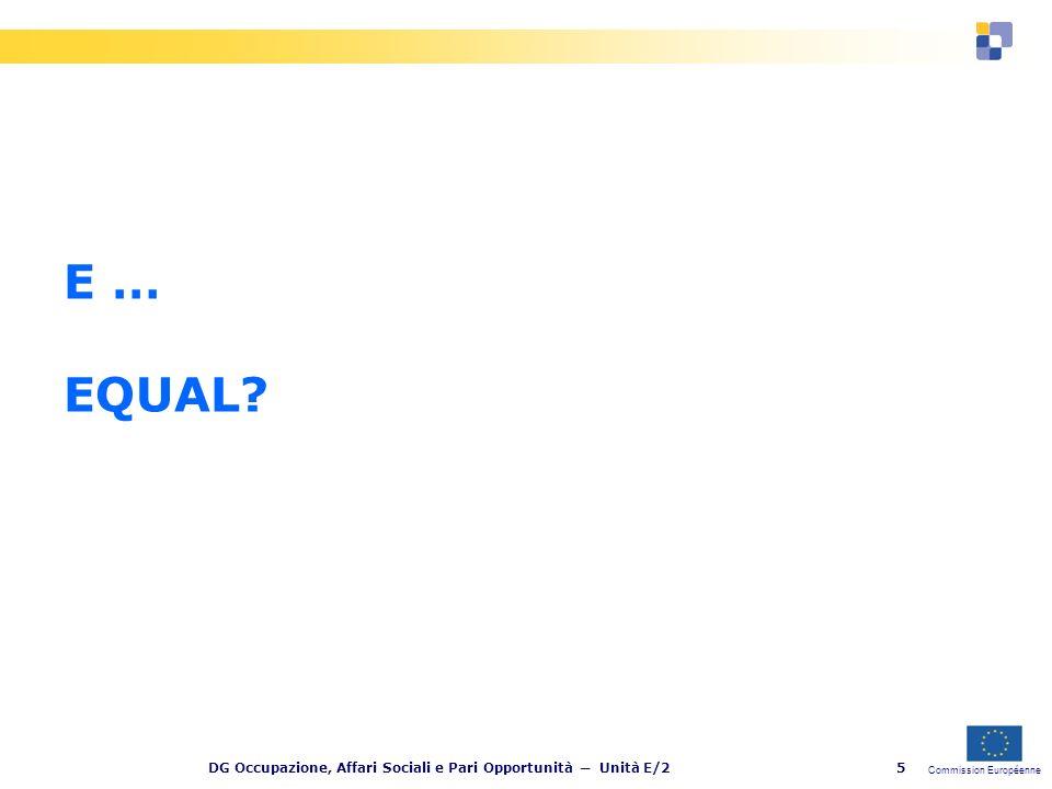 Commission Européenne DG Occupazione, Affari Sociali e Pari Opportunità Unità E/216 2.
