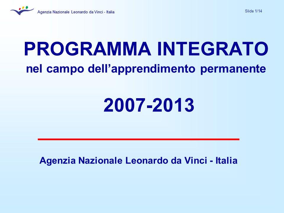 Agenzia Nazionale Leonardo da Vinci - Italia Slide 1/14 Agenzia Nazionale Leonardo da Vinci - Italia PROGRAMMA INTEGRATO nel campo dellapprendimento permanente 2007-2013 ___________________ Agenzia Nazionale Leonardo da Vinci - Italia