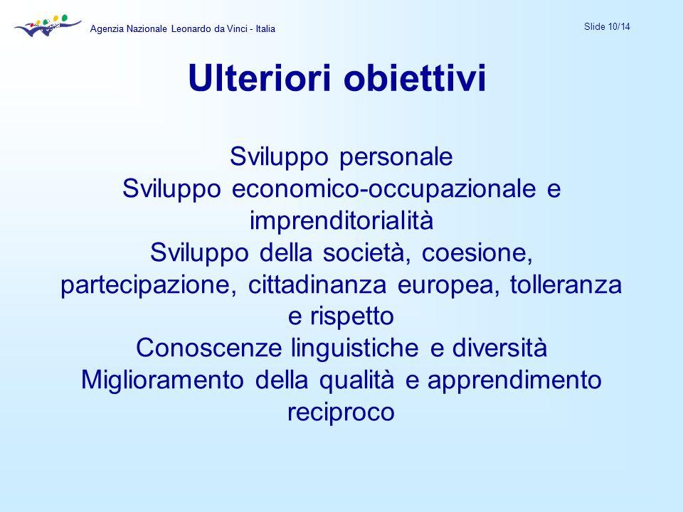 Agenzia Nazionale Leonardo da Vinci - Italia Slide 10/14 Agenzia Nazionale Leonardo da Vinci - Italia Sviluppo personale Sviluppo economico-occupazion