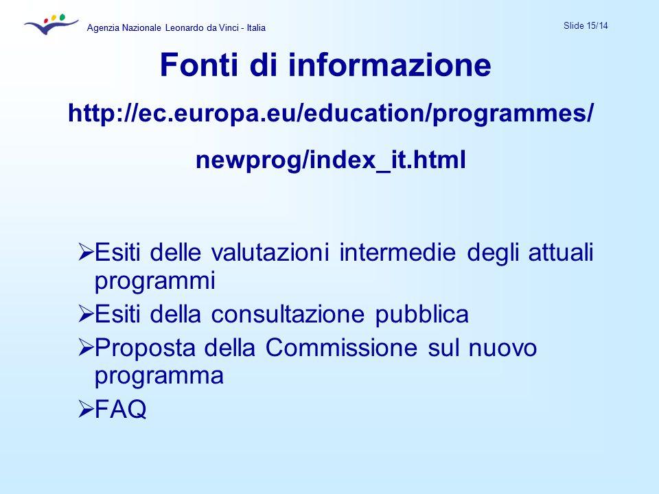 Agenzia Nazionale Leonardo da Vinci - Italia Slide 15/14 Agenzia Nazionale Leonardo da Vinci - Italia Fonti di informazione http://ec.europa.eu/educat