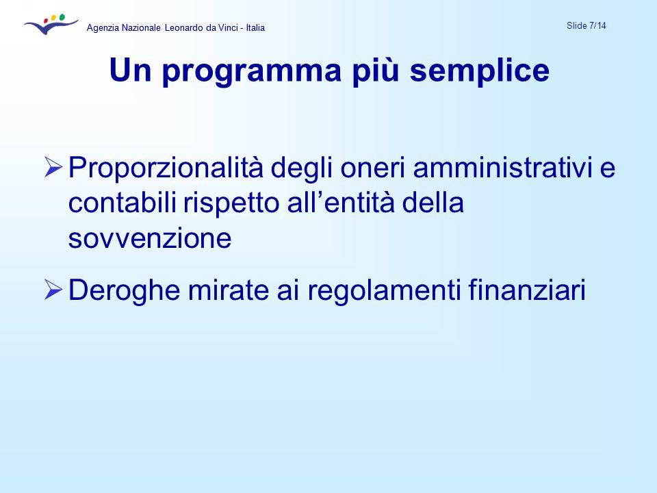 Agenzia Nazionale Leonardo da Vinci - Italia Slide 7/14 Agenzia Nazionale Leonardo da Vinci - Italia Un programma più semplice Proporzionalità degli oneri amministrativi e contabili rispetto allentità della sovvenzione Deroghe mirate ai regolamenti finanziari