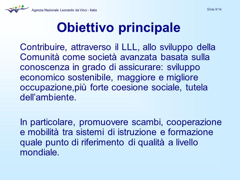 Agenzia Nazionale Leonardo da Vinci - Italia Slide 9/14 Agenzia Nazionale Leonardo da Vinci - Italia Contribuire, attraverso il LLL, allo sviluppo del