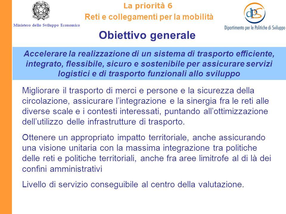 Ministero dello Sviluppo Economico IL Quadro Strategico Nazionale La priorità 6 Reti e collegamenti per la mobilità Obiettivo generale 6.1 Obiettivo s