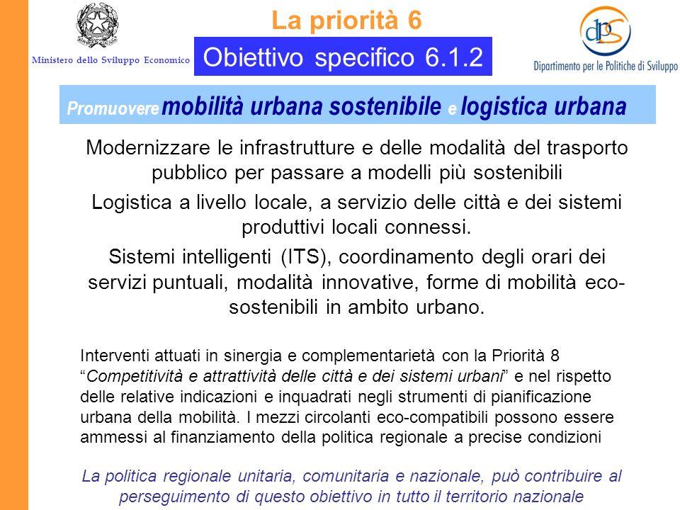 Ministero dello Sviluppo Economico Obiettivo specifico 6.1.1 La priorità 6 Concentrarsi sul rilancio della logistica, assicurandosi uneffettiva ricadu