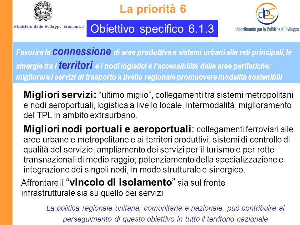 Ministero dello Sviluppo Economico Obiettivo specifico 6.1.2 Promuovere mobilità urbana sostenibile e logistica urbana La priorità 6 La politica regio