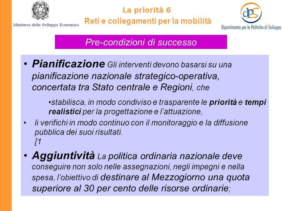 Ministero dello Sviluppo Economico La priorità 6 La politica regionale unitaria, comunitaria e nazionale, può contribuire al perseguimento di questo o
