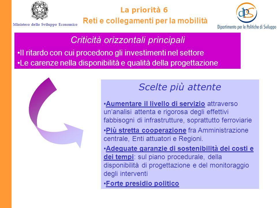 Ministero dello Sviluppo Economico La priorità 6 Reti e collegamenti per la mobilità Pianificazione Gli interventi devono basarsi su una pianificazion
