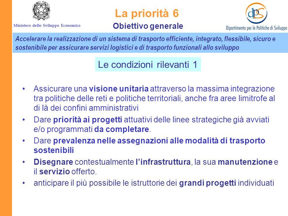 Ministero dello Sviluppo Economico La priorità 6 Reti e collegamenti per la mobilità Scelte più attente Aumentare il livello di servizio attraverso un