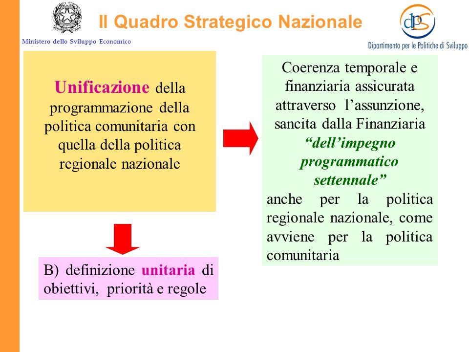 Ministero dello Sviluppo Economico E la cornice di riferimento unitaria di tutta la politica regionale: Il Quadro Strategico Nazionale La principale n