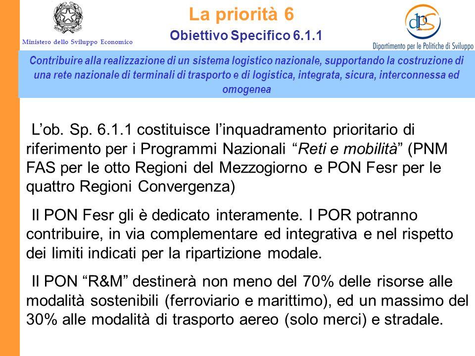 Ministero dello Sviluppo Economico. Obiettivo specifico 6.1.1 La priorità 6 I PON RETI e MOBILITÁ il PON Reti e mobilità, finanziato dal FESR, che int