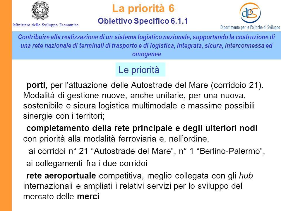 Ministero dello Sviluppo Economico La priorità 6 Contribuire alla realizzazione di un sistema logistico nazionale, supportando la costruzione di una r