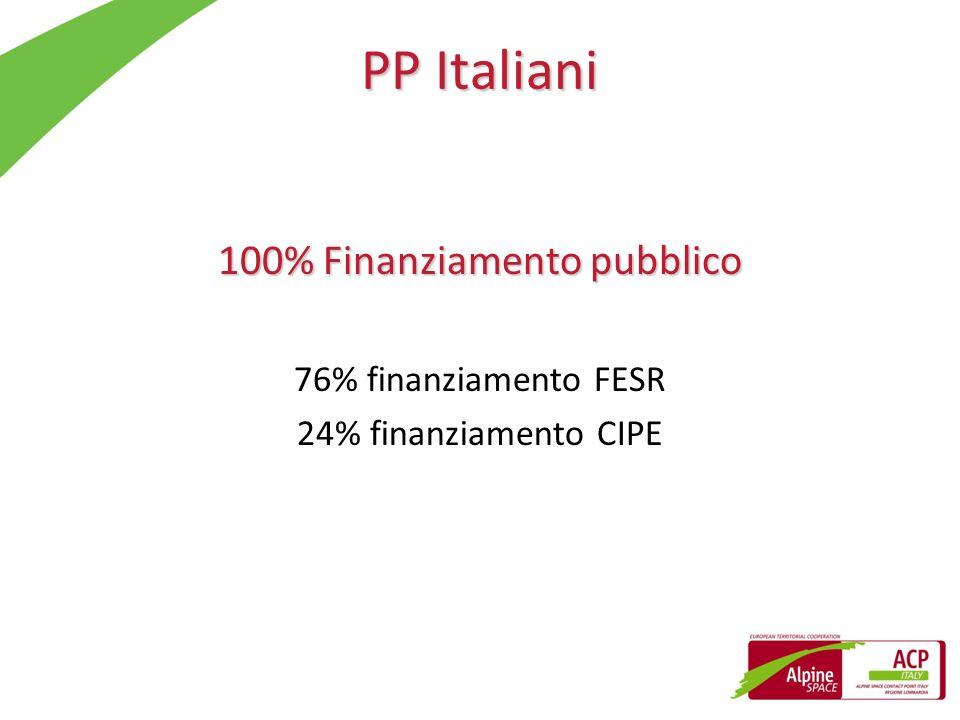 PP Italiani 100% Finanziamento pubblico 76% finanziamento FESR 24% finanziamento CIPE