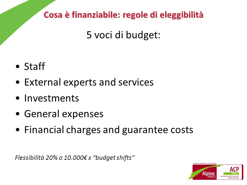 Cosa è finanziabile: regole di eleggibilità 5 voci di budget: Staff External experts and services Investments General expenses Financial charges and g