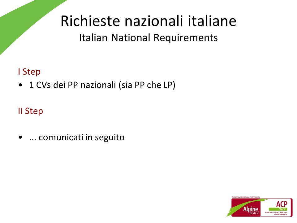 Richieste nazionali italiane Italian National Requirements I Step 1 CVs dei PP nazionali (sia PP che LP) II Step... comunicati in seguito