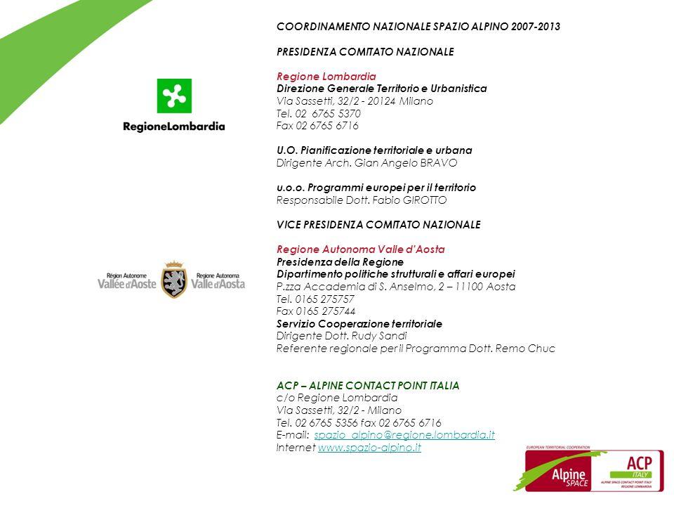 COORDINAMENTO NAZIONALE SPAZIO ALPINO 2007-2013 PRESIDENZA COMITATO NAZIONALE Regione Lombardia Direzione Generale Territorio e Urbanistica Via Sasset