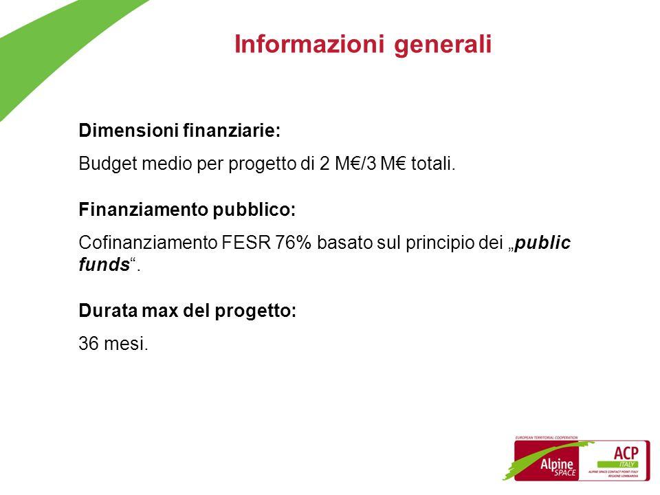 Informazioni generali Dimensioni finanziarie: Budget medio per progetto di 2 M/3 M totali. Finanziamento pubblico: Cofinanziamento FESR 76% basato sul